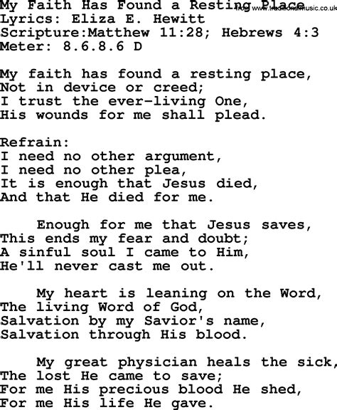 There S A Place Of Rest Lyrics Most Popular Church Hymns And Songs My Faith Has Found A Resting Place Lyrics Pptx And Pdf