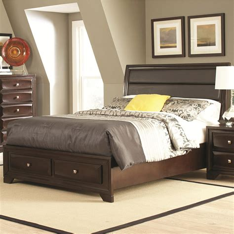 Bed With Storage And Headboard by Bed With Upholstered Headboard And Storage Footboard