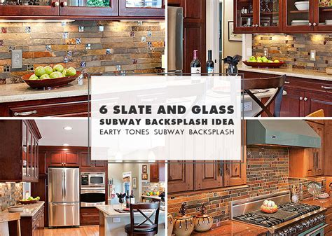 slate mosaic brown kitchen backsplash tile