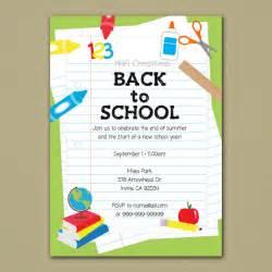 back to school invitation school supplies