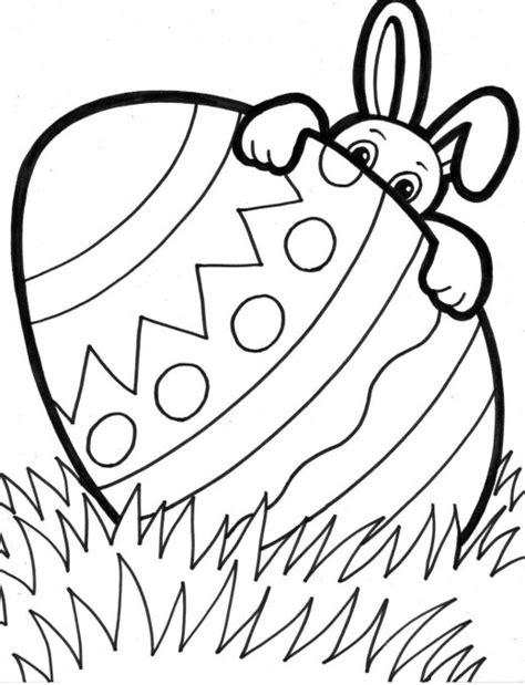 Easter Themed Coloring Pages bunny hiding easter egg