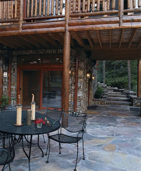 Log Patio by Creek Lake Md Waterfront Log Home Traditional