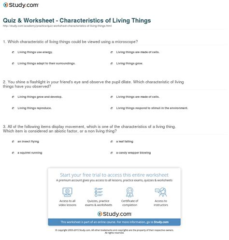 Characteristics Of Living Things Worksheet free worksheet characteristics of living things worksheet