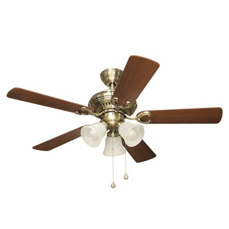 Brass Ceiling Fan With Light Shop Harbor Bellevue 44 In Antique Brass Downrod Or Flush Mount Ceiling Fan With Light