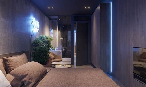 dark moody bachelor pad design  single bedroom  shaped