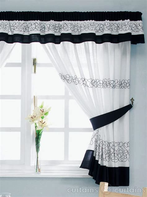 White Kitchen Curtains Retro Black White Embroidered Kitchen Curtain Pelmet