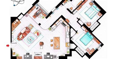 floor plan of friends apartment big bang sheldon and leonard s apartment from 10 floor
