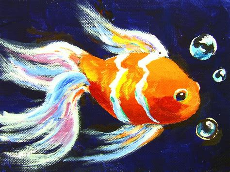 intermediate acrylic painting ideas gold fish one hour intermediate painting class