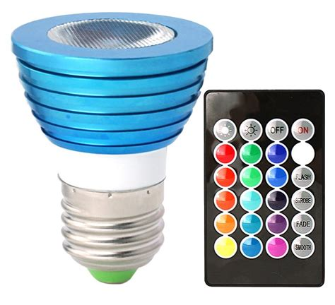 Coloured Led Light Bulbs Hitlights Bluewind Multicolor Rgb 3 Watt Mr16 E26 Led Bulb 10 Year Lifespan