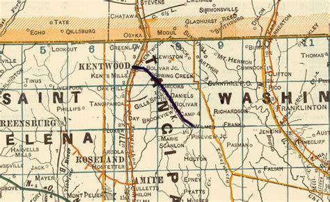 kentwood louisiana map kentwood eastern railway la map showing route in 1922