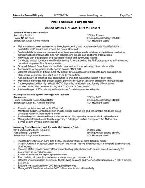 federal government resume exle http www