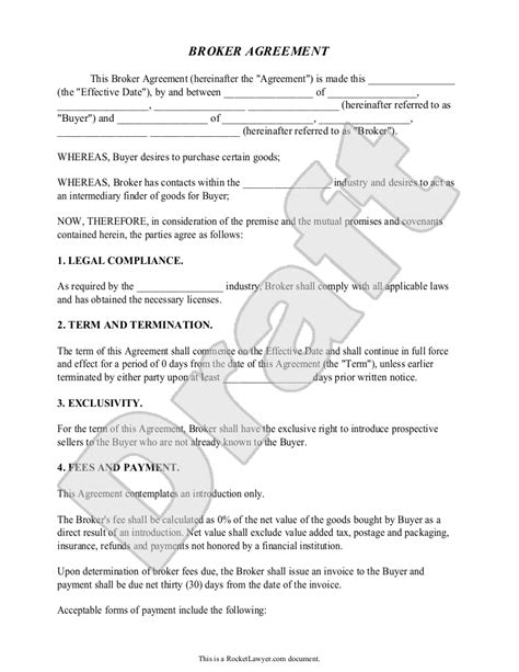 broker agreement contract fees business sle