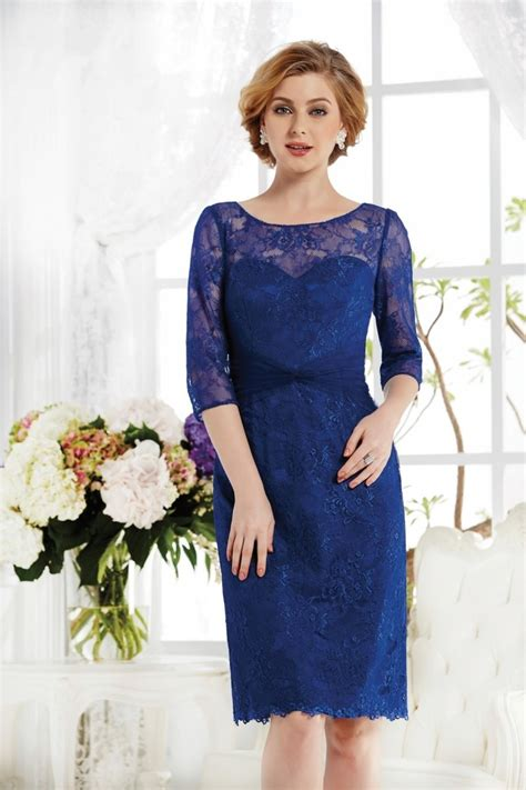 Elegant Illusion Knee Length Blue Lace Mother Of The Bride Dress   Trubridal.com