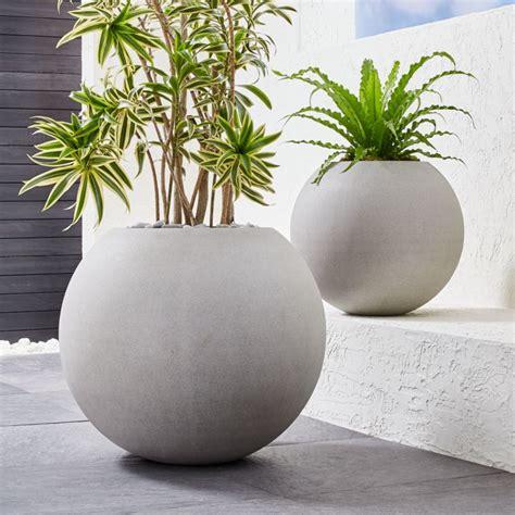 sphere light gray planters crate  barrel