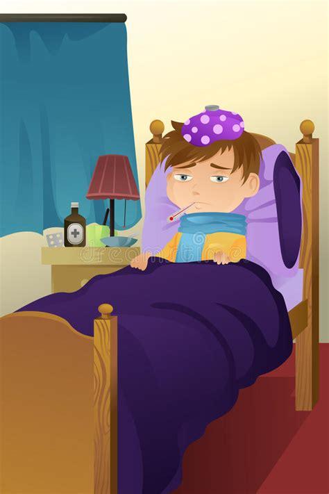 sick kid  bed stock vector illustration  childcare