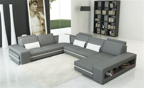 Grey And White Sofa by Divani Casa 5070 Modern Grey And White Bonded Leather