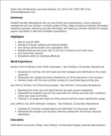 resume exle for receptionist 2 sle resume for receptionist receptionist resume