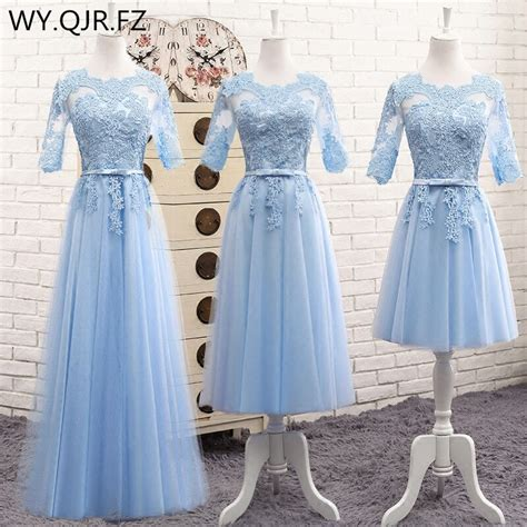 mnz513 lace up middle blue bridesmaid dresses 2017 new prom dress