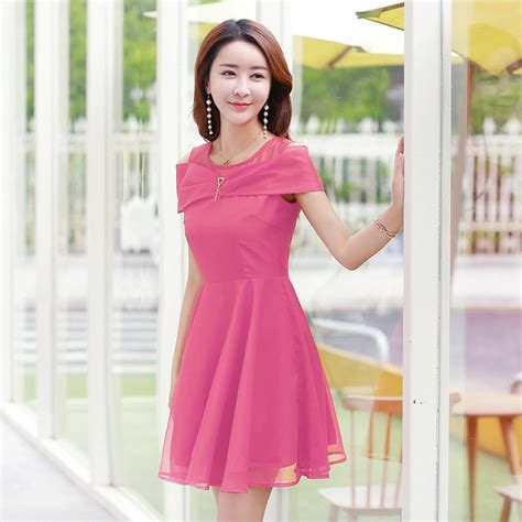 2017 new korean dresses summer fashion sleeve o neck a line dress