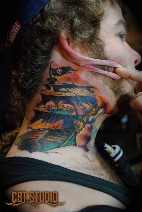 tattoo neck traditional traditional pirate skull tattoo on man side neck