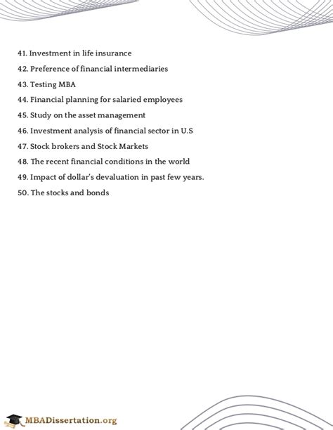 Finance Project Topics For Mba Students by Mba Finance Project Topics