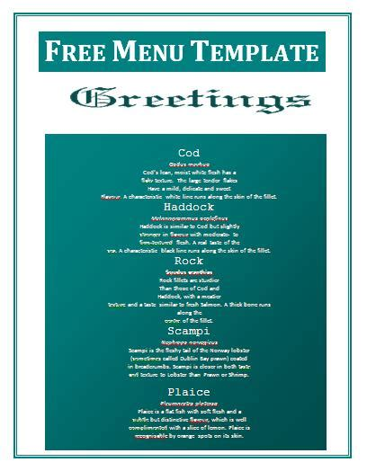 delivery menu template free invoice template free business templates