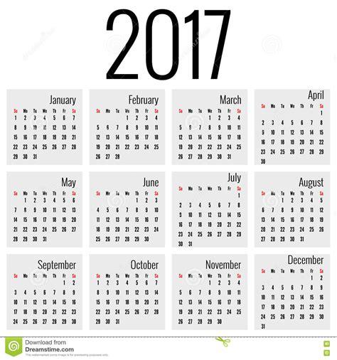 Calendrier Almanach 2017 Calendrier Mensuel Pour 2017 Illustration De Vecteur