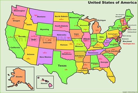 map of the united states and their capitals usa states and capitals map