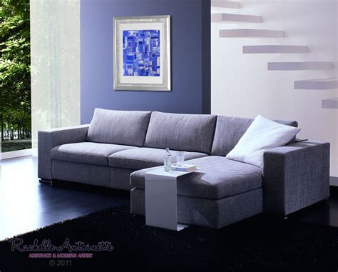 what is a small sofa called abstract art painting called cleo blue and white small