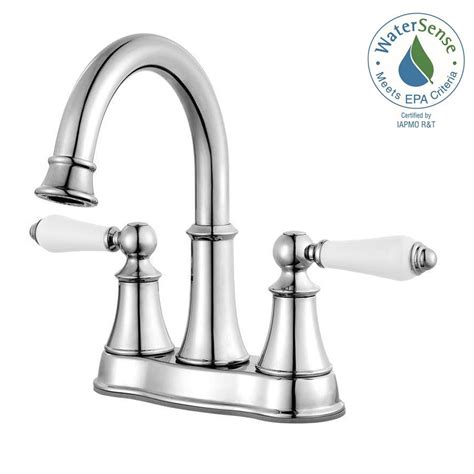 white bathroom faucets pfister courant 4 in centerset 2 handle bathroom faucet in polished chrome with white handles