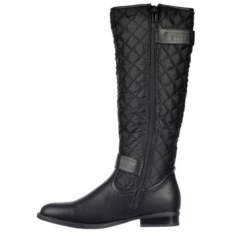 onlineshoe quilted knee high boots with buckle and