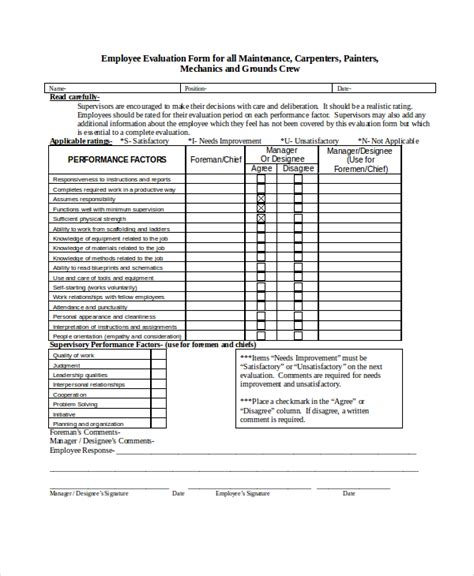 employee evaluation template employee evaluation form exle 11 free word pdf