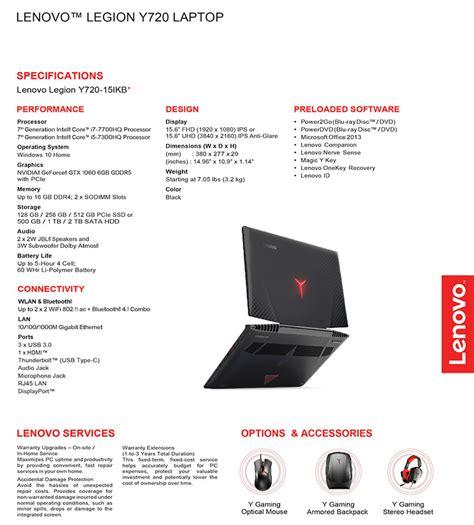 Harga Lenovo Legion Y720 lenovo gunakan nama legion untuk jajaran notebook gaming