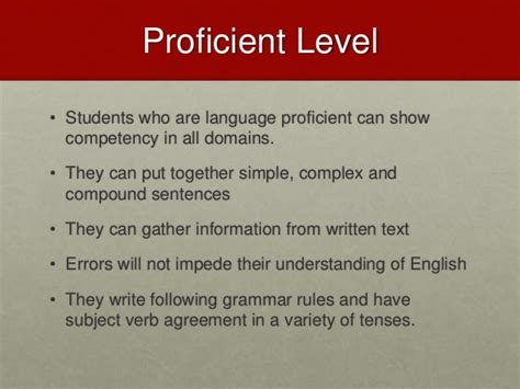 proficiency levels summary