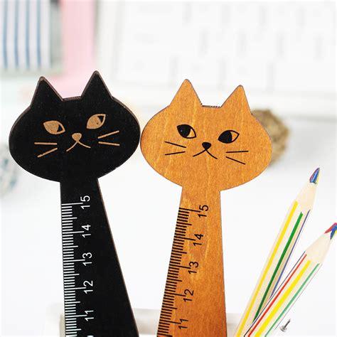 Cat Wood Ruler Black 3 pcs creative wood ruler black yellow 2 colors