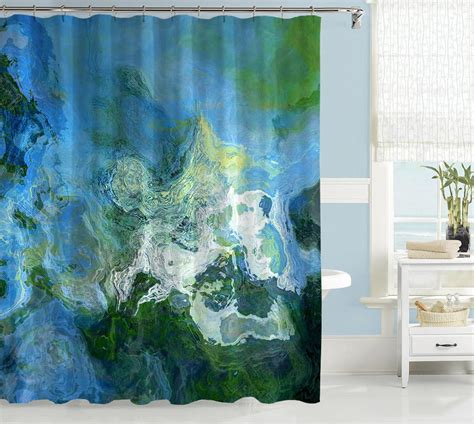 blue green shower curtains contemporary abstract art shower curtain blue green and