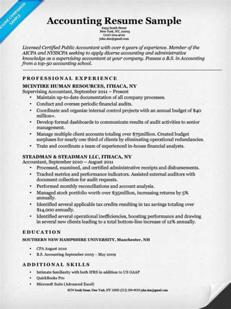 resume format for experienced candidates in accounts accounting cpa resume sle resume companion