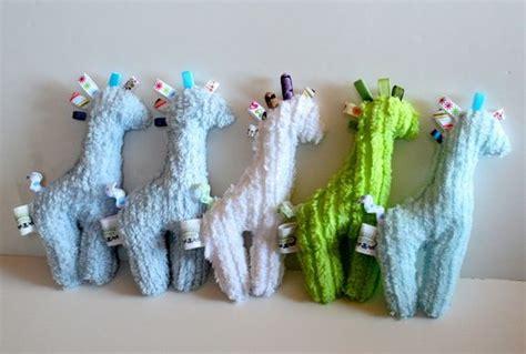 Handmade Taggies - handmade giraffe taggie baby chenille fabric with