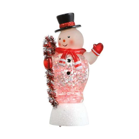 medium snowman mini shimmer acrylic lighted figurine
