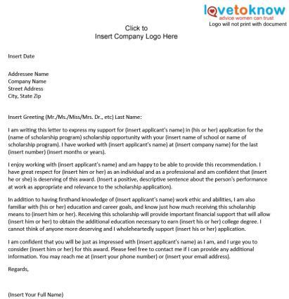 Recommendation Letter For College Grant sle scholarship recommendation letter lovetoknow