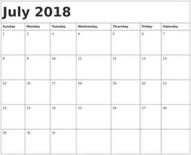 2018 Calendar Template July 2018 Calendar Template