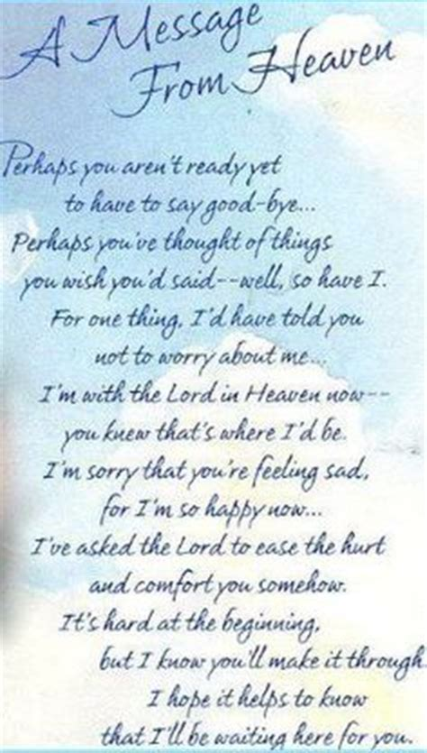 heavens point  view  wrote  poem   son  passed   year  today  love