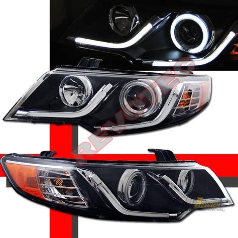 Kia Forte Koup Led Headlights G2 Ccfl Halo R8 Led Black Projector Headlights For