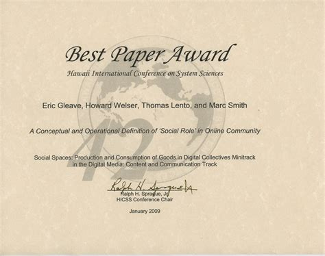 Award Letter Meaning In Best Paper At Hicss 42 A Conceptual And Operational Definition Of Social Role In