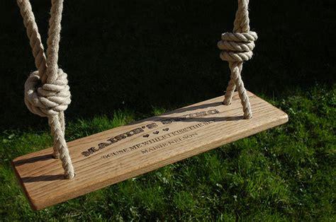 oak garden swing personalised handmade rustic oak garden swing by daughters