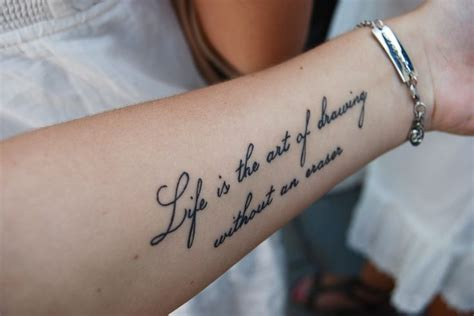 Tattoo Ink Eraser | quot life is the art of drawing without an eraser quot tattoo