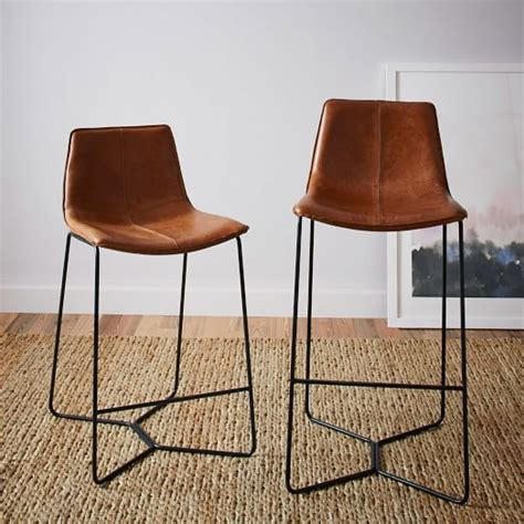Leather Top Bar Stools slope leather bar counter stools west elm