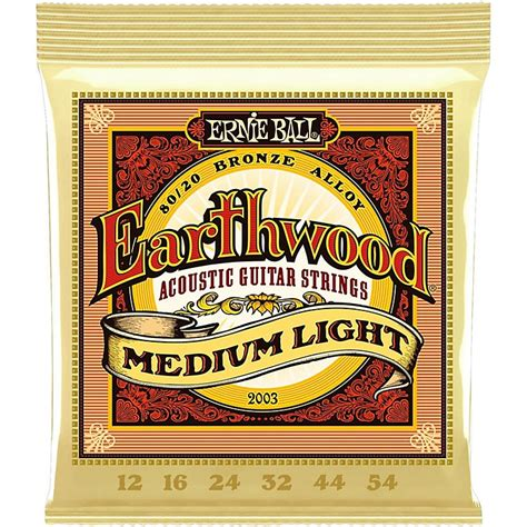 Ernie Ball 2003 Earthwood 80 20 Bronze Medium Light Light Guitar Strings Vs Medium