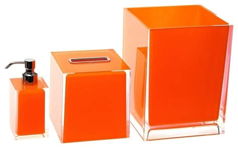 3 Piece Orange Accessory Set Contemporary Bathroom Bathroom Accessories Orange