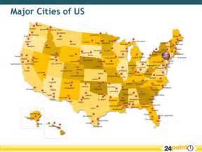 state map of showing cities major cities of the us map showing the major cities of